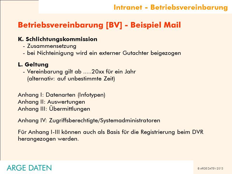 © ARGE DATEN 2013 ARGE DATEN Betriebsvereinbarung [BV] - Beispiel Mail K. Schlichtungskommission -Zusammensetzung -bei Nichteinigung wird ein externer