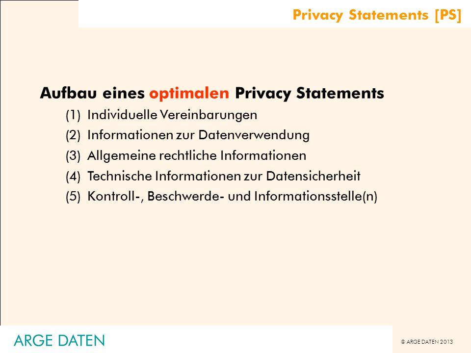 © ARGE DATEN 2013 ARGE DATEN Aufbau eines optimalen Privacy Statements (1)Individuelle Vereinbarungen (2)Informationen zur Datenverwendung (3)Allgemei