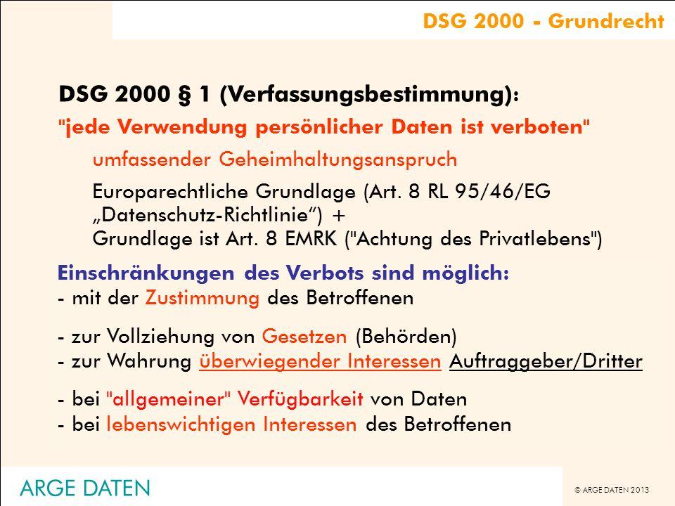 © ARGE DATEN 2013 ARGE DATEN Personenbezogene Daten DSG 2000 - Definition Daten Indirekt personenbezogene Daten §4 Z1 DSG 2000, (kein EU-Begriff!) personenbezogene Daten §4 Z1 DSG 2000sonstige besonders schutzwürdige Daten §18 Abs.2 DSG 2000 (kein EU-Begriff) sensible Daten §4 Z2 DSG 2000