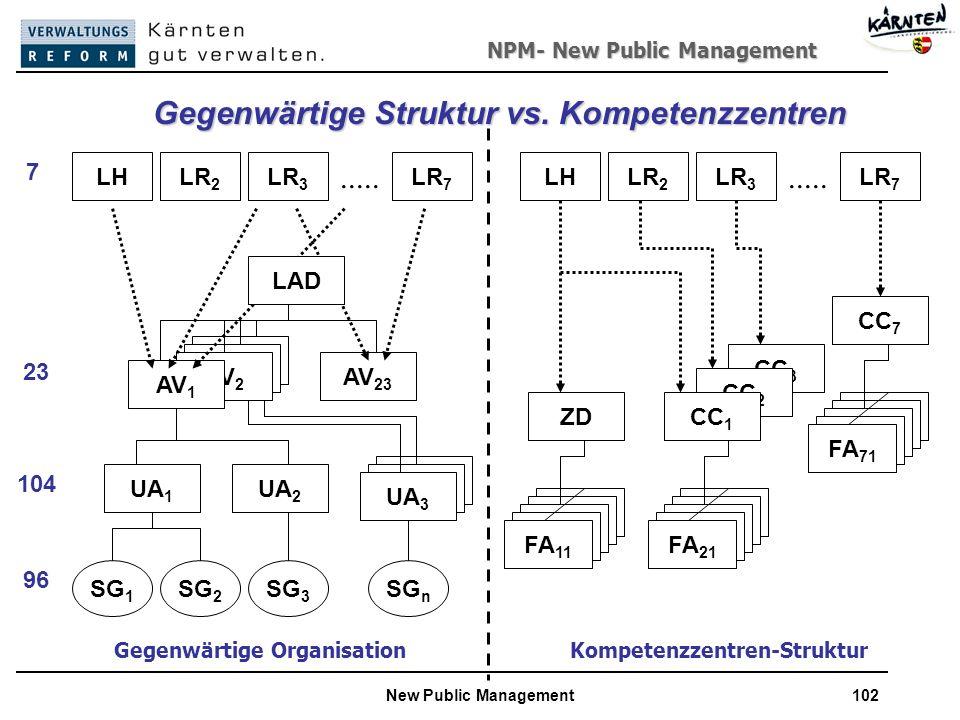 NPM- New Public Management New Public Management102 CC 3 CC 2 FA 1 Gegenwärtige Struktur vs.