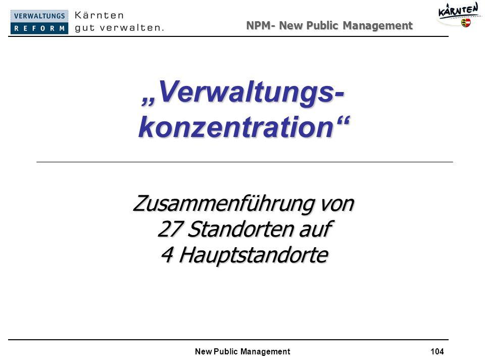 NPM- New Public Management New Public Management104 Verwaltungs- konzentration Zusammenführung von 27 Standorten auf 4 Hauptstandorte