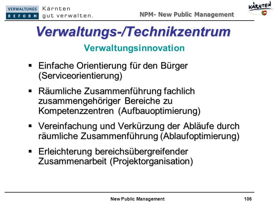 NPM- New Public Management New Public Management106 Verwaltungs-/Technikzentrum Verwaltungs-/Technikzentrum Verwaltungsinnovation Einfache Orientierung für den Bürger (Serviceorientierung) Einfache Orientierung für den Bürger (Serviceorientierung) Räumliche Zusammenführung fachlich zusammengehöriger Bereiche zu Kompetenzzentren (Aufbauoptimierung) Räumliche Zusammenführung fachlich zusammengehöriger Bereiche zu Kompetenzzentren (Aufbauoptimierung) Vereinfachung und Verkürzung der Abläufe durch räumliche Zusammenführung (Ablaufoptimierung) Vereinfachung und Verkürzung der Abläufe durch räumliche Zusammenführung (Ablaufoptimierung) Erleichterung bereichsübergreifender Zusammenarbeit (Projektorganisation) Erleichterung bereichsübergreifender Zusammenarbeit (Projektorganisation)