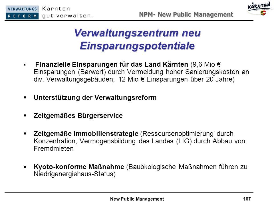 NPM- New Public Management New Public Management107 Verwaltungszentrum neu Einsparungspotentiale Finanzielle Einsparungen für das Land Kärnten (9,6 Mio Einsparungen (Barwert) durch Vermeidung hoher Sanierungskosten an div.