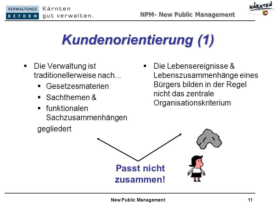 NPM- New Public Management New Public Management11 Kundenorientierung (1) Die Verwaltung ist traditionellerweise nach...