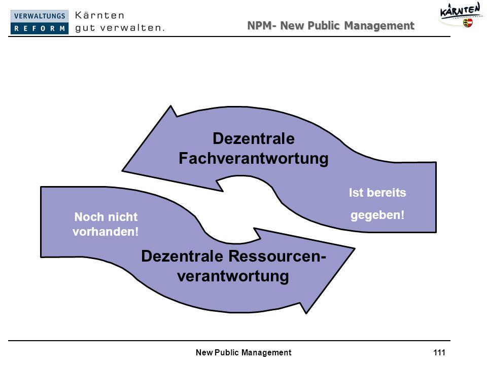 NPM- New Public Management New Public Management111 Dezentrale Fachverantwortung Noch nicht vorhanden.