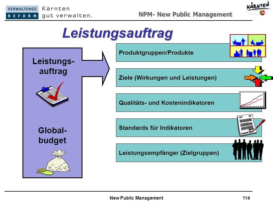 NPM- New Public Management New Public Management114 Qualitäts- und Kostenindikatoren Leistungsauftrag Produktgruppen/Produkte Standards für Indikatoren Ziele (Wirkungen und Leistungen) Leistungsempfänger (Zielgruppen) Leistungs- auftrag Global- budget