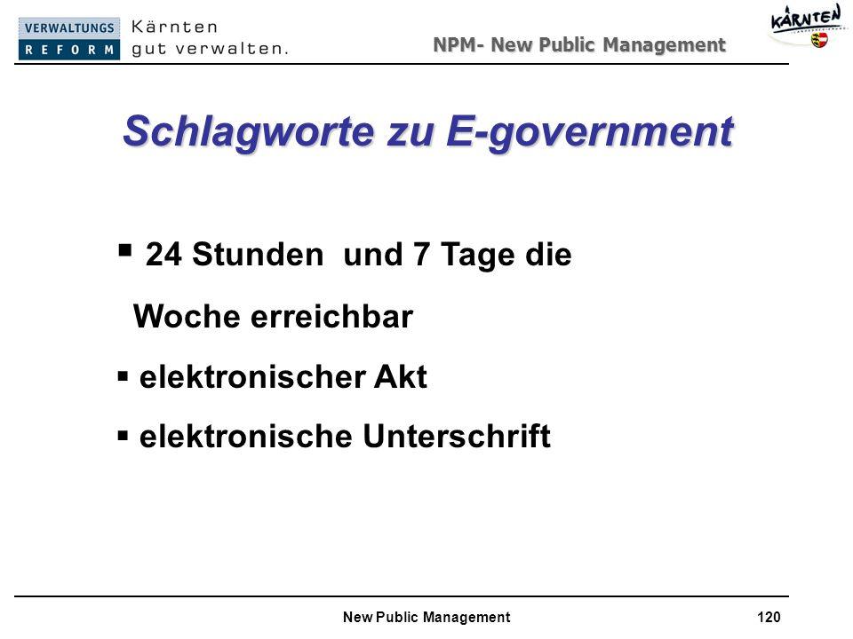 NPM- New Public Management New Public Management120 Schlagworte zu E-government 24 Stunden und 7 Tage die Woche erreichbar elektronischer Akt elektronische Unterschrift