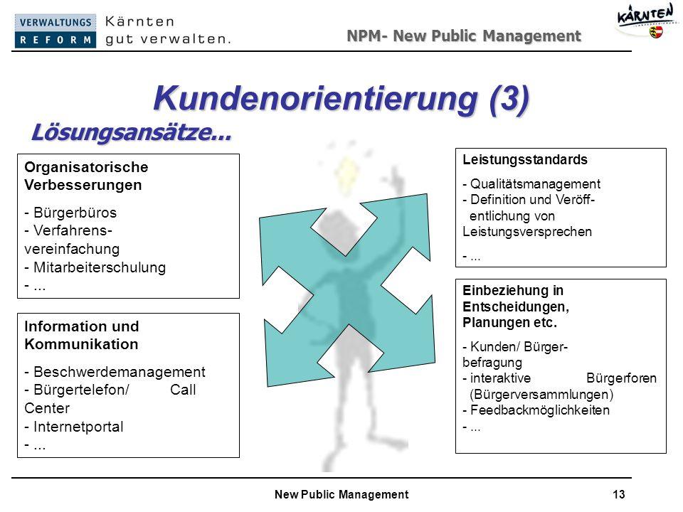 NPM- New Public Management New Public Management13 Kundenorientierung (3) Organisatorische Verbesserungen - Bürgerbüros - Verfahrens- -------- vereinfachung - Mitarbeiterschulung -...