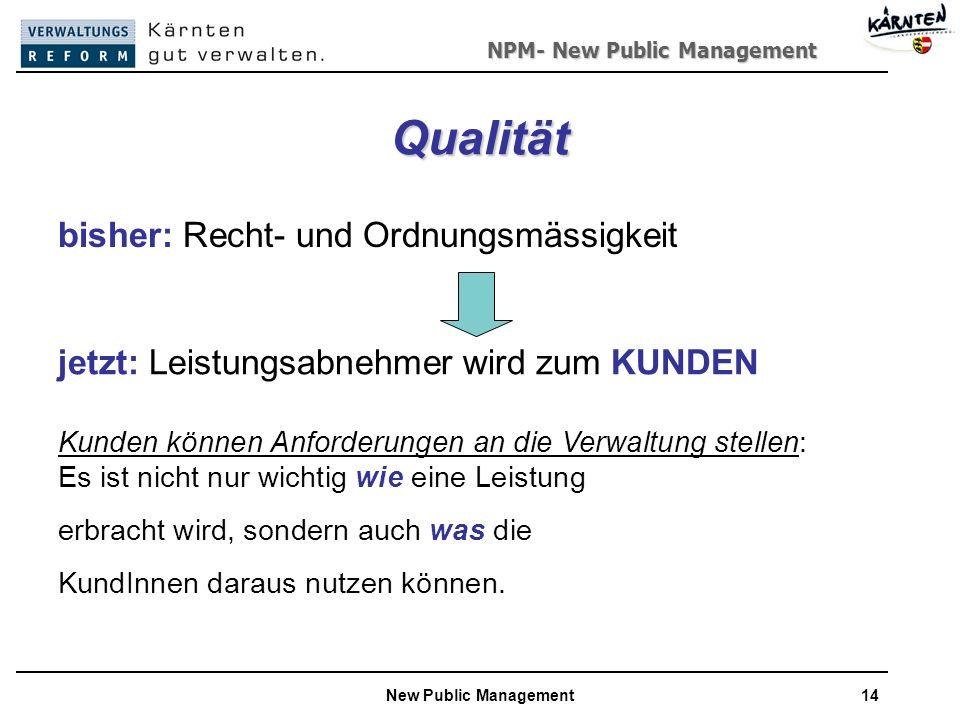 NPM- New Public Management New Public Management14 Qualität bisher: Recht- und Ordnungsmässigkeit jetzt: Leistungsabnehmer wird zum KUNDEN Kunden können Anforderungen an die Verwaltung stellen: Es ist nicht nur wichtig wie eine Leistung erbracht wird, sondern auch was die KundInnen daraus nutzen können.