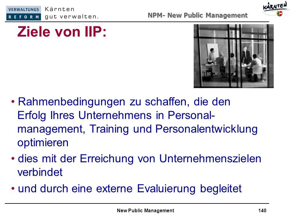 NPM- New Public Management New Public Management140 Ziele von IIP: Rahmenbedingungen zu schaffen, die den Erfolg Ihres Unternehmens in Personal- management, Training und Personalentwicklung optimieren dies mit der Erreichung von Unternehmenszielen verbindet und durch eine externe Evaluierung begleitet