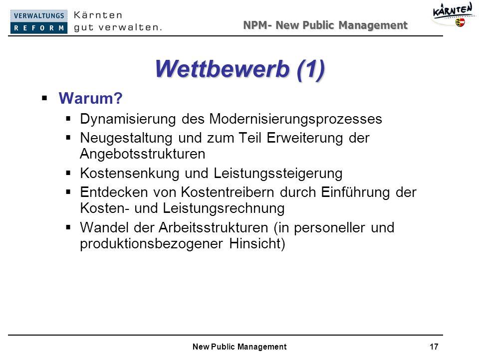 NPM- New Public Management New Public Management17 Wettbewerb (1) Warum.