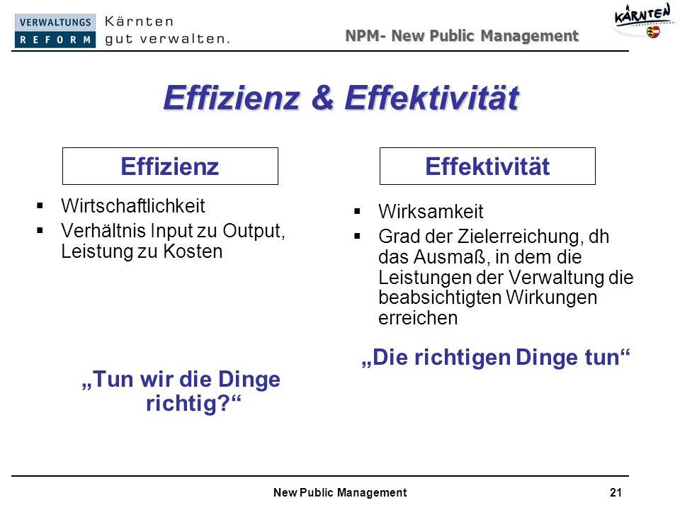 NPM- New Public Management New Public Management21 Effizienz & Effektivität Wirtschaftlichkeit Verhältnis Input zu Output, Leistung zu Kosten Tun wir die Dinge richtig.