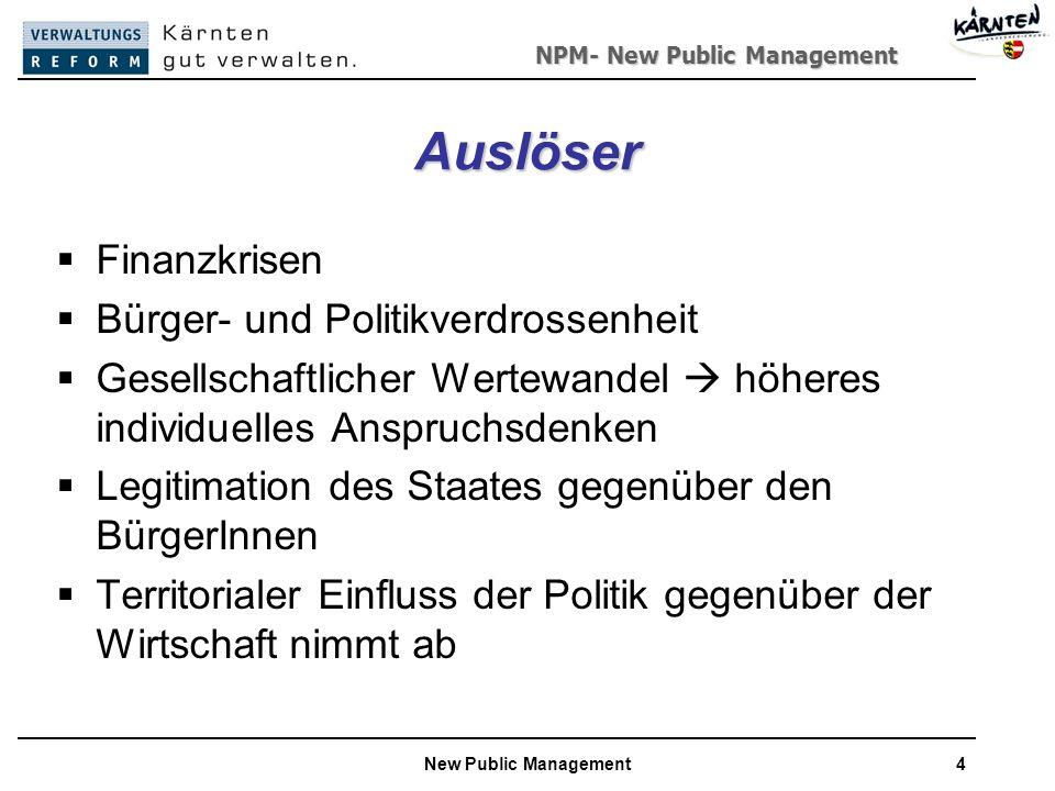 NPM- New Public Management New Public Management4 Auslöser Finanzkrisen Bürger- und Politikverdrossenheit Gesellschaftlicher Wertewandel höheres individuelles Anspruchsdenken Legitimation des Staates gegenüber den BürgerInnen Territorialer Einfluss der Politik gegenüber der Wirtschaft nimmt ab