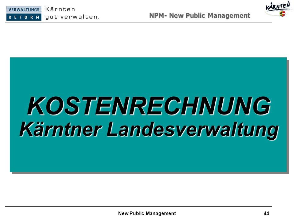NPM- New Public Management New Public Management44 KOSTENRECHNUNG Kärntner Landesverwaltung KOSTENRECHNUNG