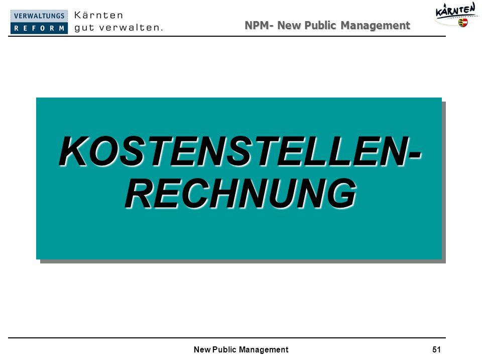 NPM- New Public Management New Public Management51 KOSTENSTELLEN- RECHNUNG