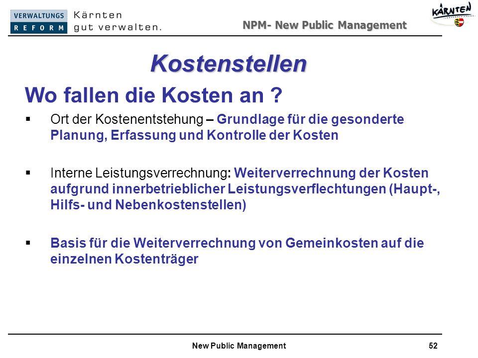 NPM- New Public Management New Public Management52 Kostenstellen Wo fallen die Kosten an .