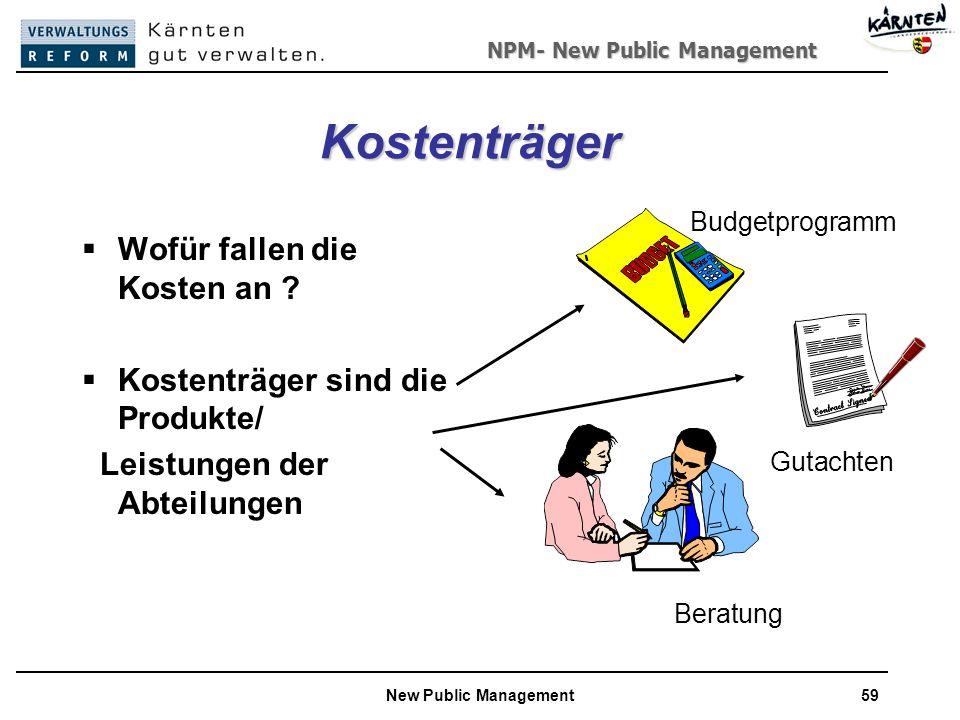 NPM- New Public Management New Public Management59 Kostenträger Wofür fallen die Kosten an .