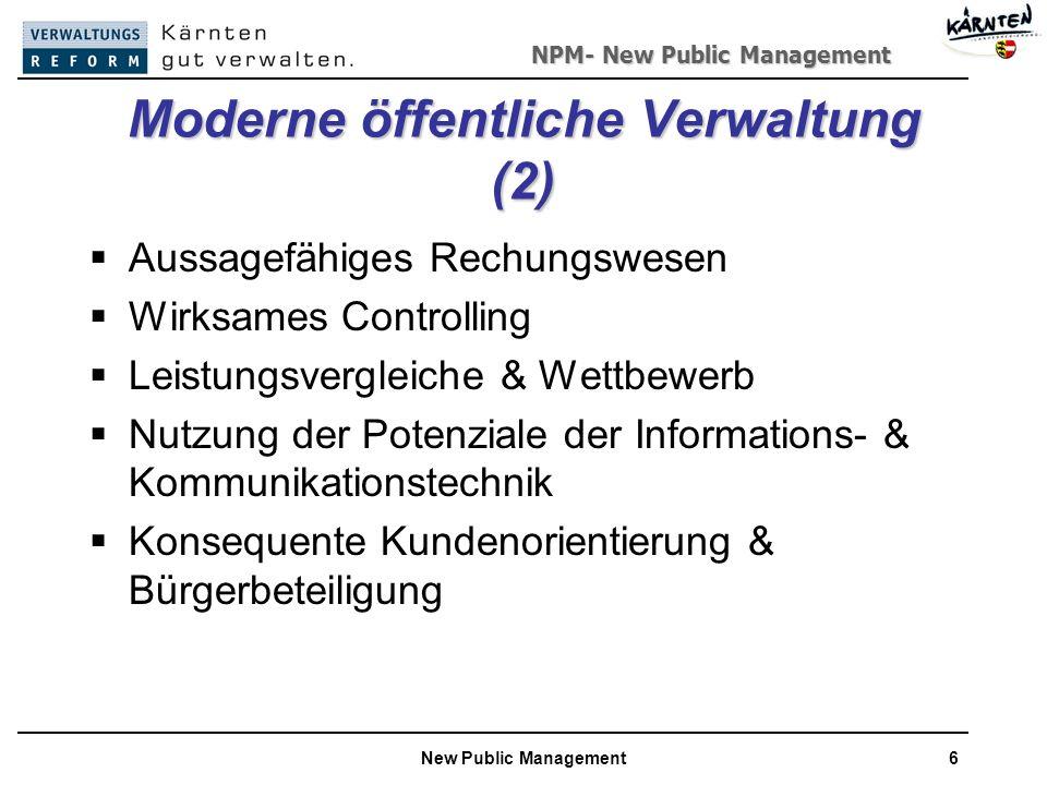 NPM- New Public Management New Public Management6 Moderne öffentliche Verwaltung (2) Aussagefähiges Rechungswesen Wirksames Controlling Leistungsvergleiche & Wettbewerb Nutzung der Potenziale der Informations- & Kommunikationstechnik Konsequente Kundenorientierung & Bürgerbeteiligung