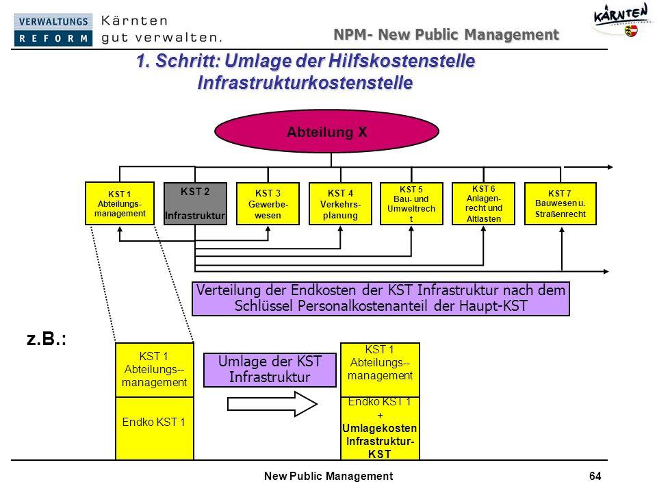 NPM- New Public Management New Public Management64 Abteilung X KST 2 Infrastruktur KST 3 Gewerbe- wesen KST 4 Verkehrs- planung KST 5 Bau- und Umweltrech t KST 6 Anlagen- recht und Altlasten KST 7 Bauwesen u.
