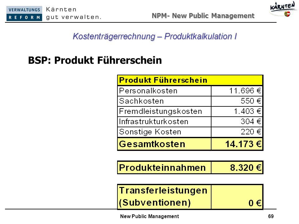 NPM- New Public Management New Public Management69 Kostenträgerrechnung – Produktkalkulation I BSP: Produkt Führerschein