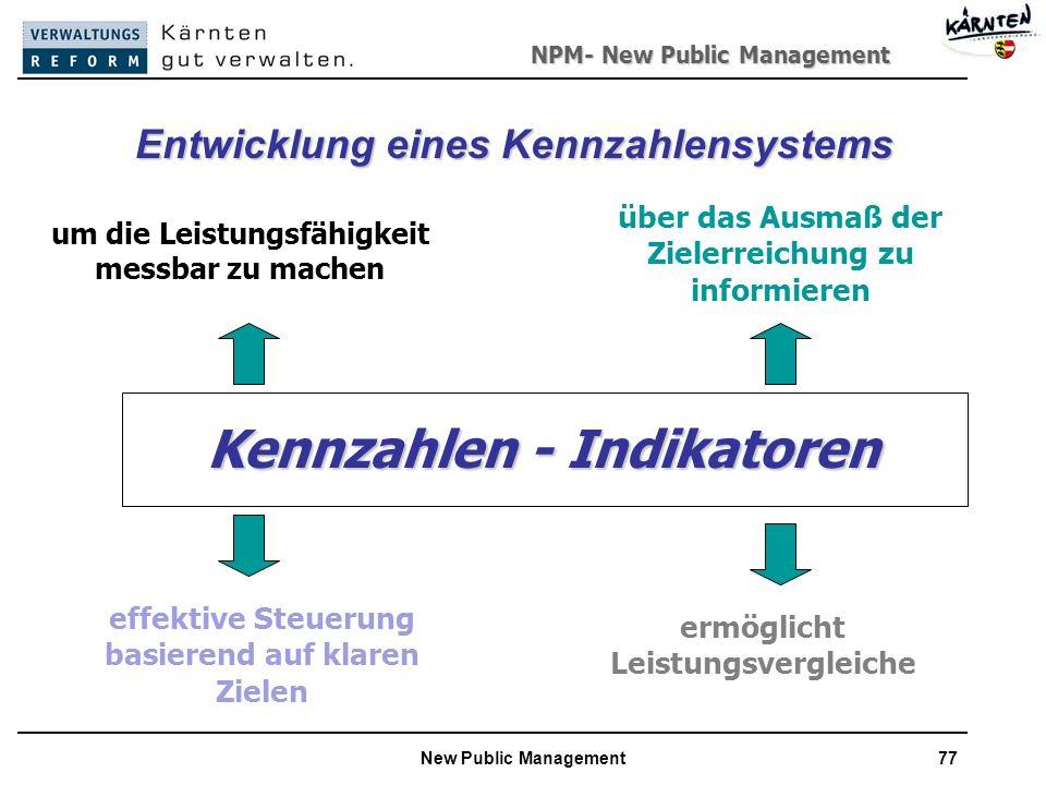 NPM- New Public Management New Public Management77 Kennzahlen - Indikatoren Kennzahlen - Indikatoren um die Leistungsfähigkeit messbar zu machen über das Ausmaß der Zielerreichung zu informieren effektive Steuerung basierend auf klaren Zielen ermöglicht Leistungsvergleiche Entwicklung eines Kennzahlensystems