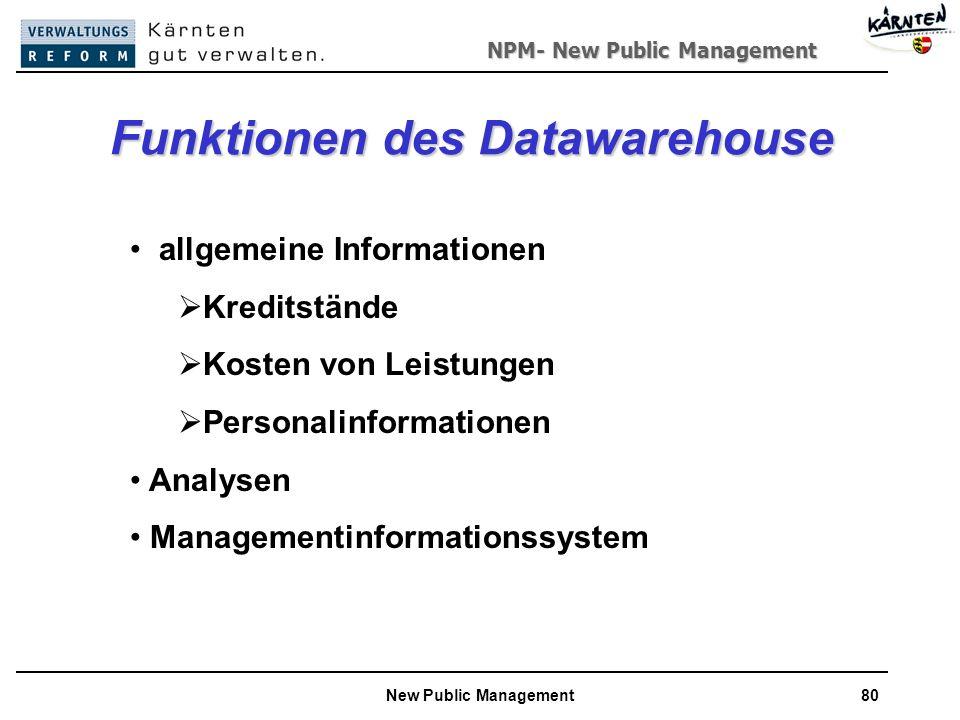 NPM- New Public Management New Public Management80 Funktionen des Datawarehouse allgemeine Informationen Kreditstände Kosten von Leistungen Personalinformationen Analysen Managementinformationssystem
