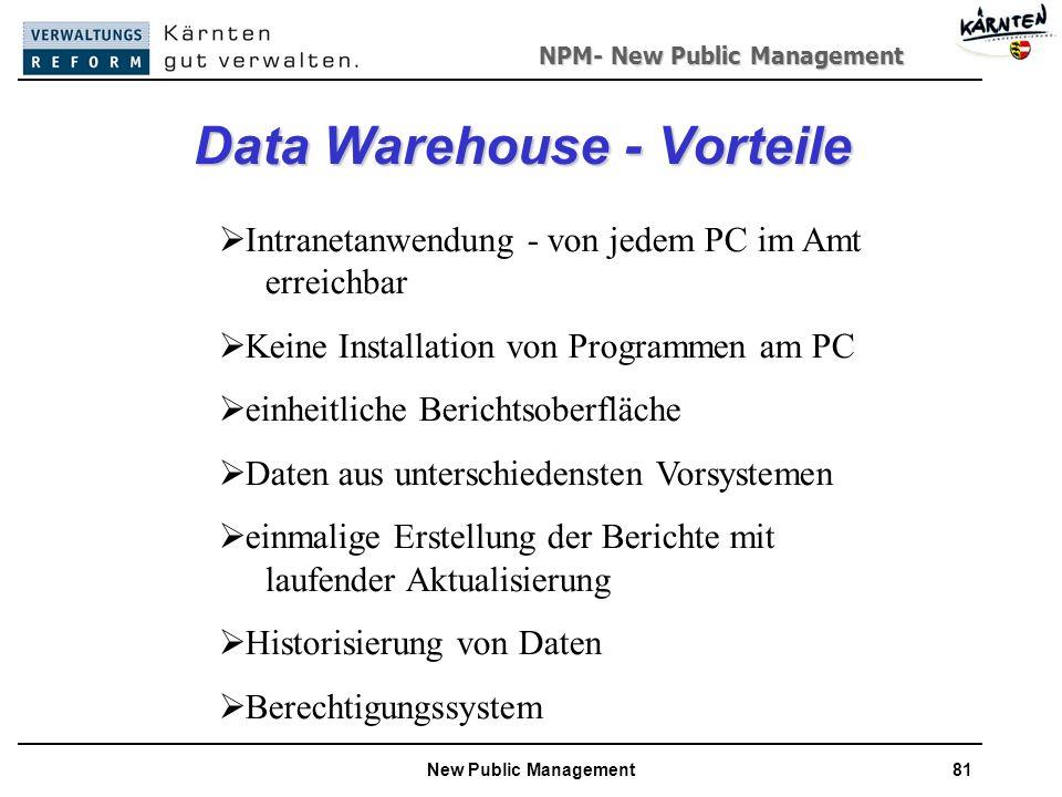 NPM- New Public Management New Public Management81 Data Warehouse - Vorteile Intranetanwendung - von jedem PC im Amt erreichbar Keine Installation von Programmen am PC einheitliche Berichtsoberfläche Daten aus unterschiedensten Vorsystemen einmalige Erstellung der Berichte mit laufender Aktualisierung Historisierung von Daten Berechtigungssystem