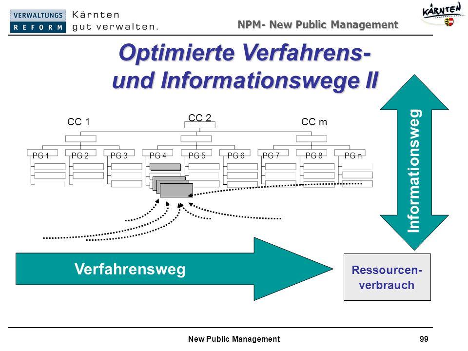 NPM- New Public Management New Public Management99 Verfahrensweg Informationsweg Ressourcen- verbrauch Optimierte Verfahrens- und Informationswege II CC 2 CC 1CC m PG 1PG 2PG 3PG 4PG 5PG 6PG 7PG 8PG n