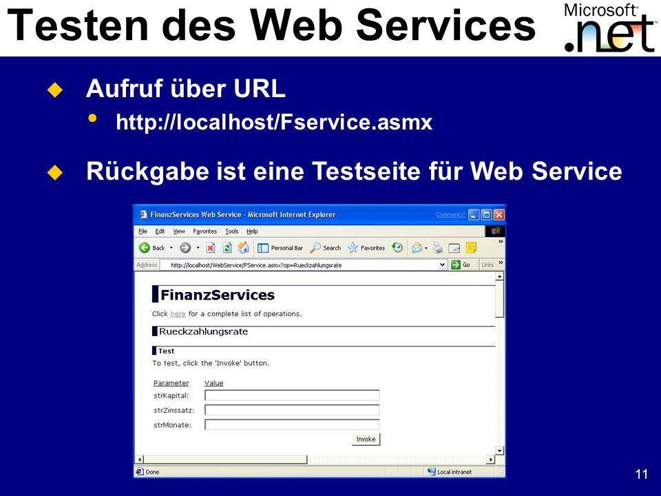 11 Testen des Web Services Aufruf über URL http://localhost/Fservice.asmx Rückgabe ist eine Testseite für Web Service