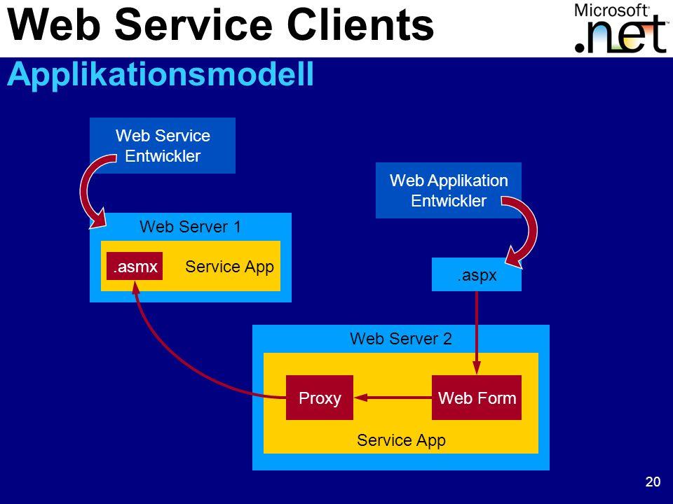20 Web Service Entwickler Web Applikation Entwickler Web Server 1 Service App.asmx.aspx Web Server 2 Service App ProxyWeb Form Web Service Clients App