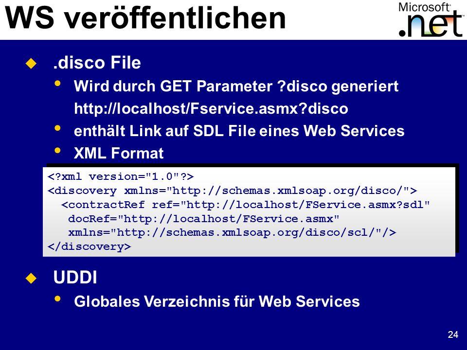 24 WS veröffentlichen.disco File Wird durch GET Parameter ?disco generiert http://localhost/Fservice.asmx?disco enthält Link auf SDL File eines Web Se