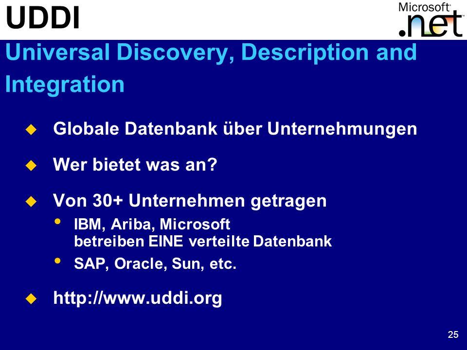25 UDDI Universal Discovery, Description and Integration Globale Datenbank über Unternehmungen Wer bietet was an? Von 30+ Unternehmen getragen IBM, Ar