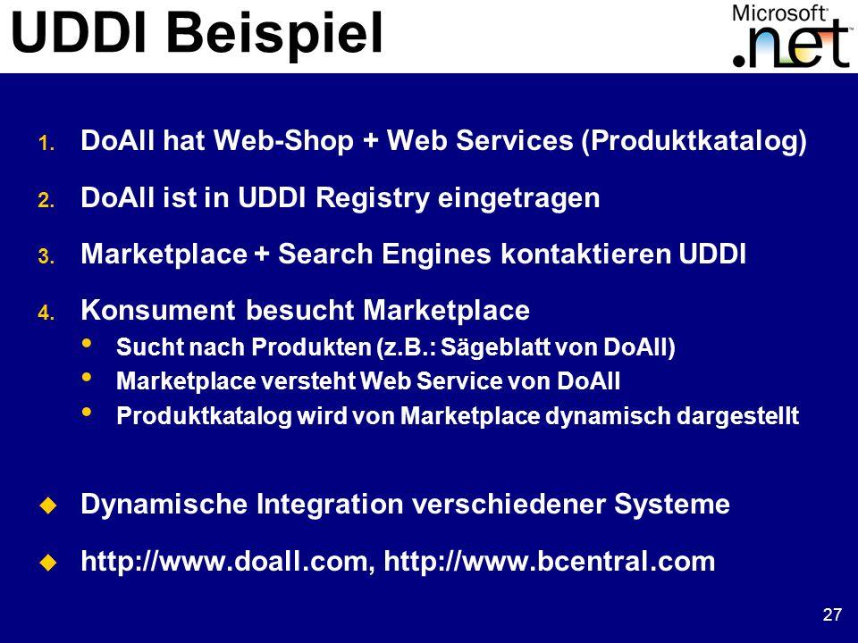 27 UDDI Beispiel 1. DoAll hat Web-Shop + Web Services (Produktkatalog) 2. DoAll ist in UDDI Registry eingetragen 3. Marketplace + Search Engines konta