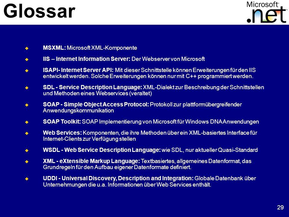 29 Glossar MSXML: Microsoft XML-Komponente IIS – Internet Information Server: Der Webserver von Microsoft ISAPI- Internet Server API: Mit dieser Schni