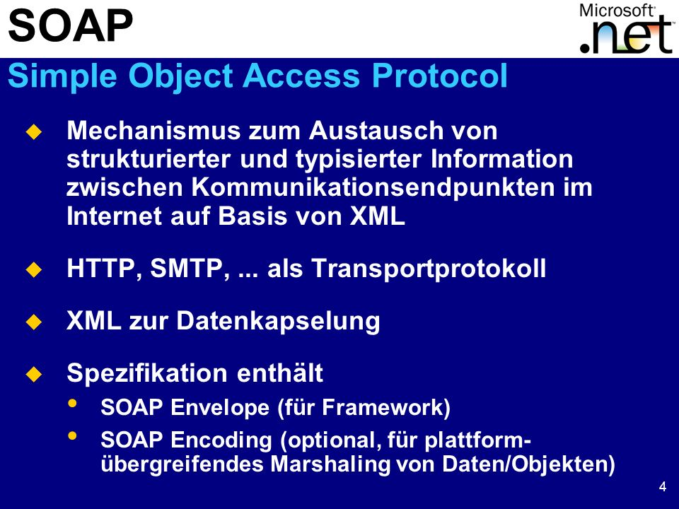 5 SOAP Beispiel POST /FService.asmx HTTP/1.1 Host: localhost Content-Type: text/xml; charset=utf-8 Content-Length: length SOAPAction: http://tempuri.org/Rueckzahlungsrate <soap:Envelope xmlns:xsi= http://www.w3.org/2000/10/XMLSchema-instance xmlns:xsd= http://www.w3.org/2000/10/XMLSchema xmlns:soap= http://schemas.xmlsoap.org/soap/envelope > string POST /FService.asmx HTTP/1.1 Host: localhost Content-Type: text/xml; charset=utf-8 Content-Length: length SOAPAction: http://tempuri.org/Rueckzahlungsrate <soap:Envelope xmlns:xsi= http://www.w3.org/2000/10/XMLSchema-instance xmlns:xsd= http://www.w3.org/2000/10/XMLSchema xmlns:soap= http://schemas.xmlsoap.org/soap/envelope > string