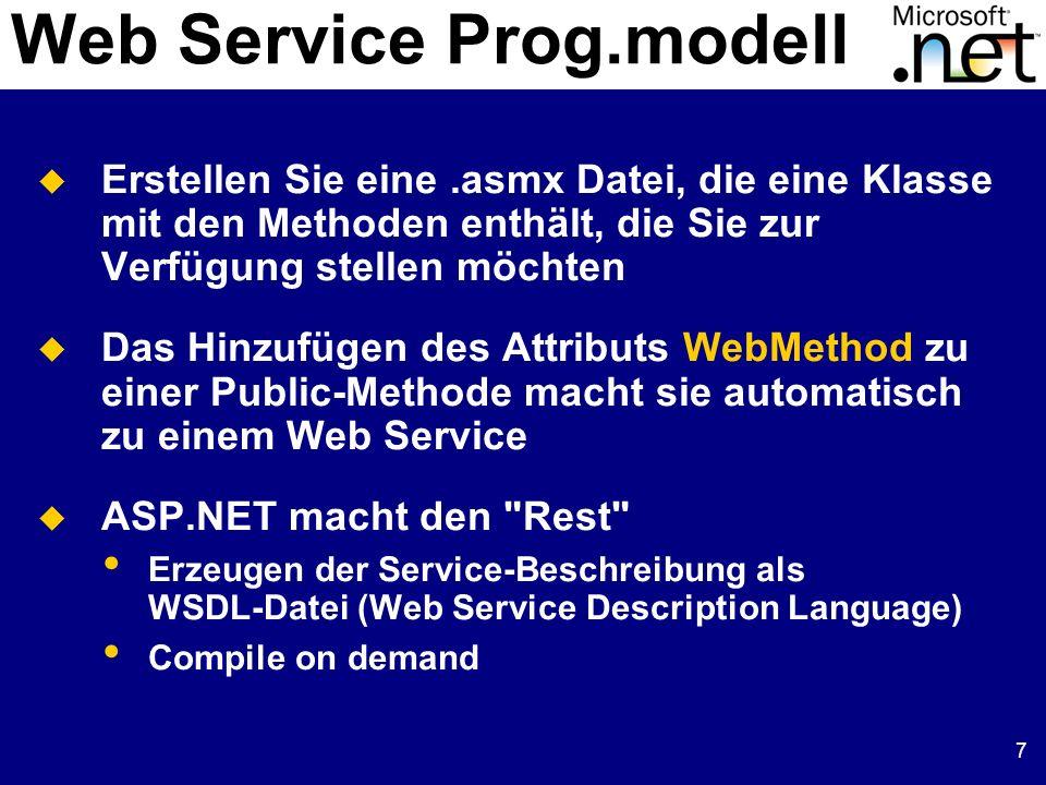 7 Web Service Prog.modell Erstellen Sie eine.asmx Datei, die eine Klasse mit den Methoden enthält, die Sie zur Verfügung stellen möchten Das Hinzufüge