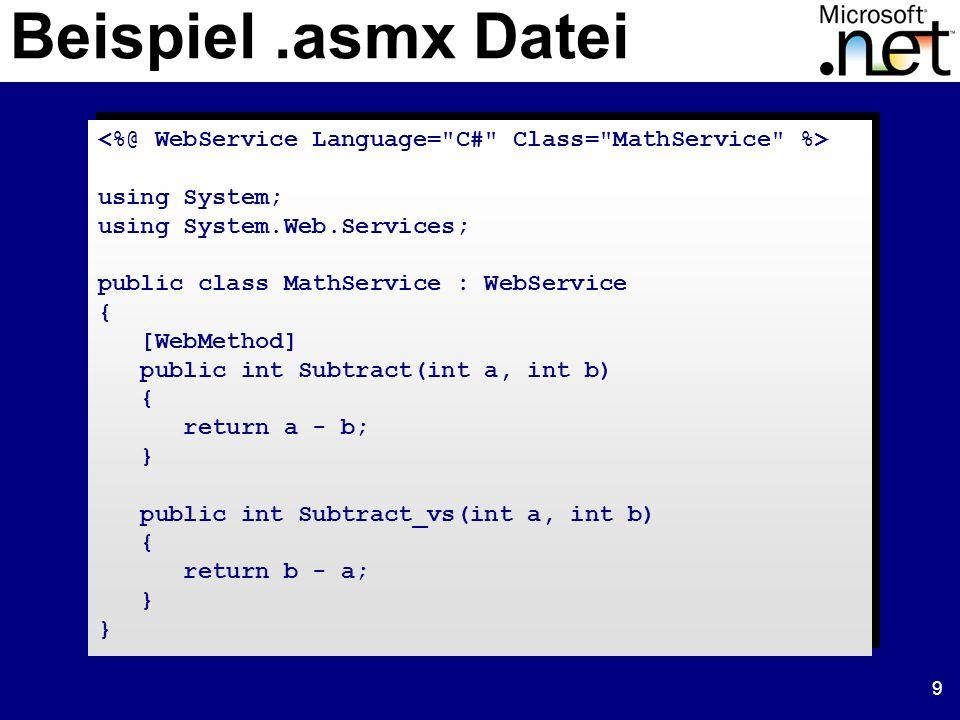 20 Web Service Entwickler Web Applikation Entwickler Web Server 1 Service App.asmx.aspx Web Server 2 Service App ProxyWeb Form Web Service Clients Applikationsmodell