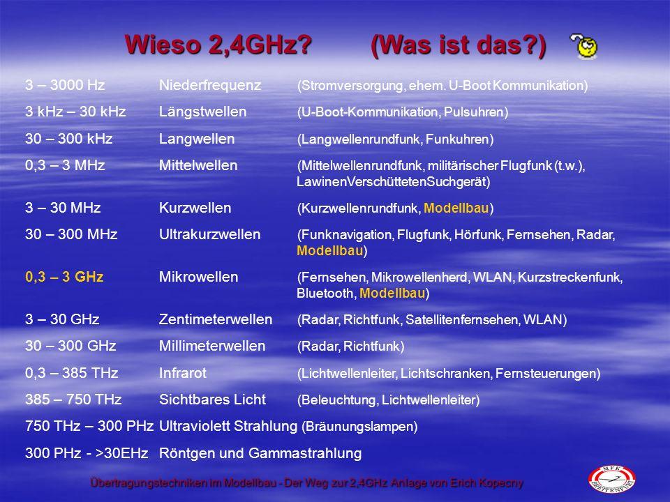 Übertragungstechniken im Modellbau - Der Weg zur 2,4GHz Anlage von Erich Kopecny Wieso 2,4GHz? (Was ist das?) 3 – 3000 HzNiederfrequenz (Stromversorgu