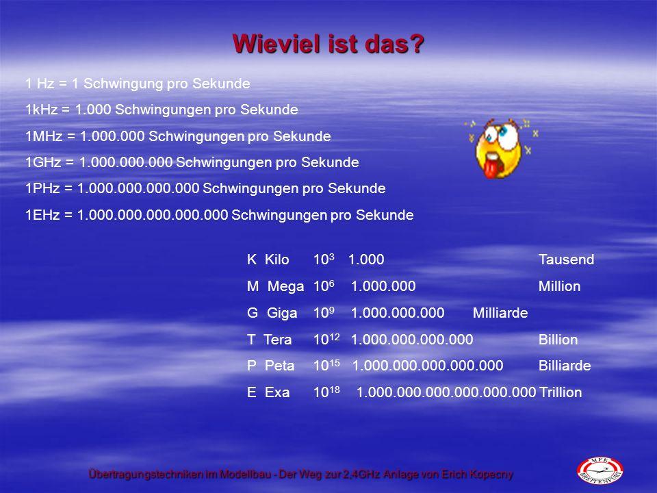 Übertragungstechniken im Modellbau - Der Weg zur 2,4GHz Anlage von Erich Kopecny Und was sind dann Kanäle.