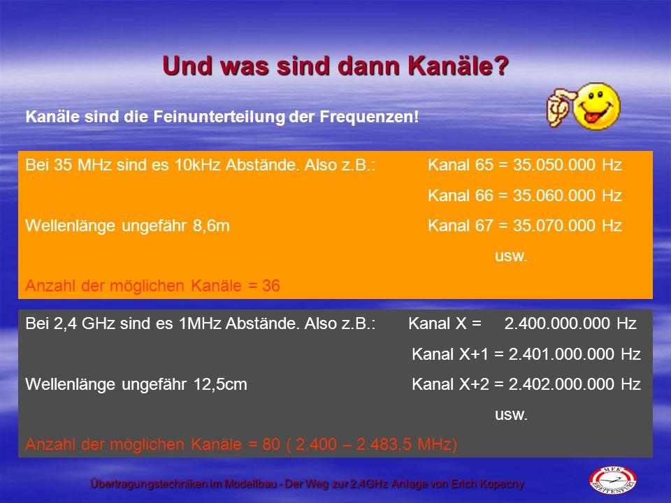 Übertragungstechniken im Modellbau - Der Weg zur 2,4GHz Anlage von Erich Kopecny Und nun zu den Verfahren.