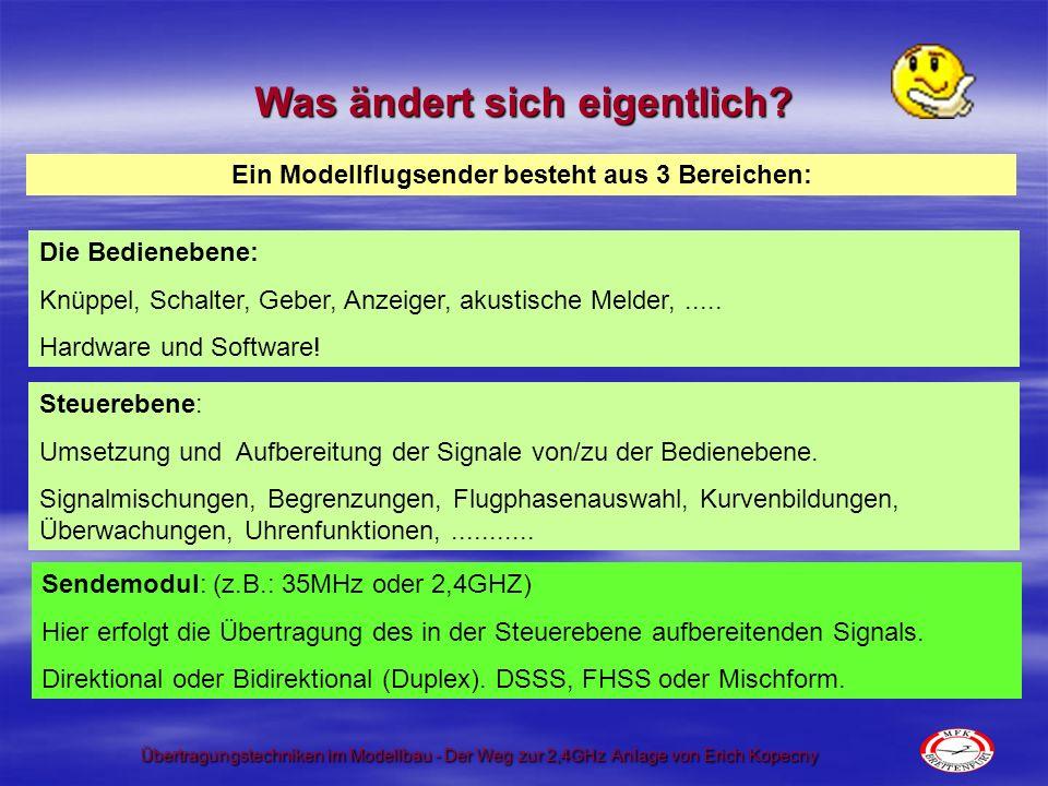 Übertragungstechniken im Modellbau - Der Weg zur 2,4GHz Anlage von Erich Kopecny Was ändert sich eigentlich? Die Bedienebene: Knüppel, Schalter, Geber