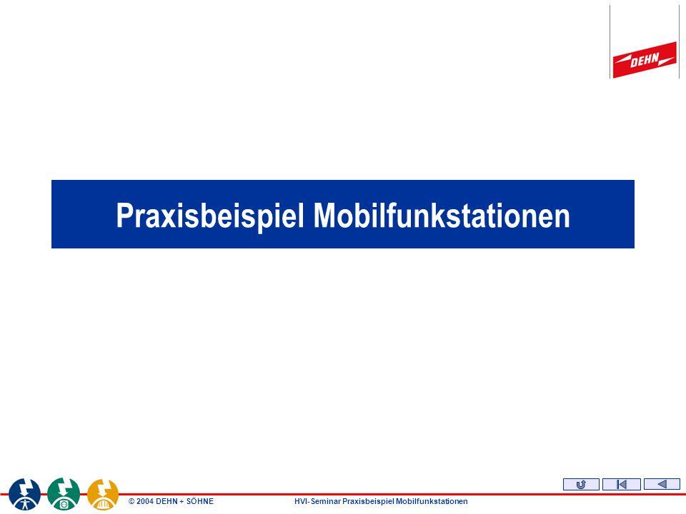 © 2004 DEHN + SÖHNEHVI-Seminar Praxisbeispiel Mobilfunkstationen Leitungshalter HVI-Leitung mit Spannband Klemmbereich Ø 90 - 300 mm Art.