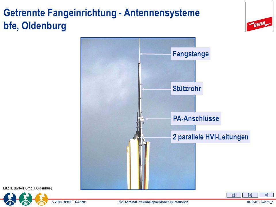 © 2004 DEHN + SÖHNEHVI-Seminar Praxisbeispiel Mobilfunkstationen10.02.03 / S3461_c Lit.: H.