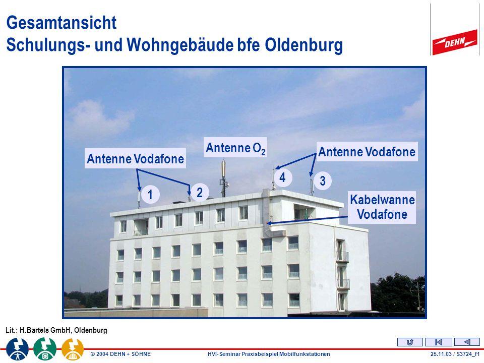 © 2004 DEHN + SÖHNEHVI-Seminar Praxisbeispiel Mobilfunkstationen25.11.03 / S3724_f1 Gesamtansicht Schulungs- und Wohngebäude bfe Oldenburg Lit.: H.Bartels GmbH, Oldenburg Antenne Vodafone Antenne O 2 Antenne Vodafone Kabelwanne Vodafone 1 2 4 3