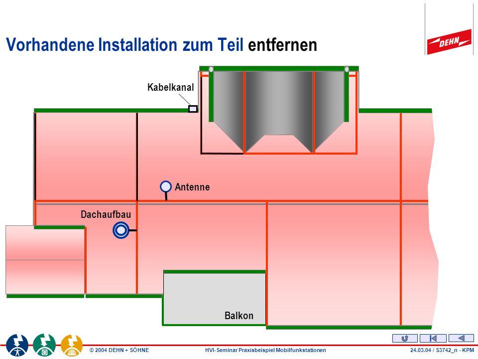 © 2004 DEHN + SÖHNEHVI-Seminar Praxisbeispiel Mobilfunkstationen Vorhandene Installation zum Teil entfernen Balkon Antenne Dachaufbau Kabelkanal 24.03.04 / S3742_n - KPM