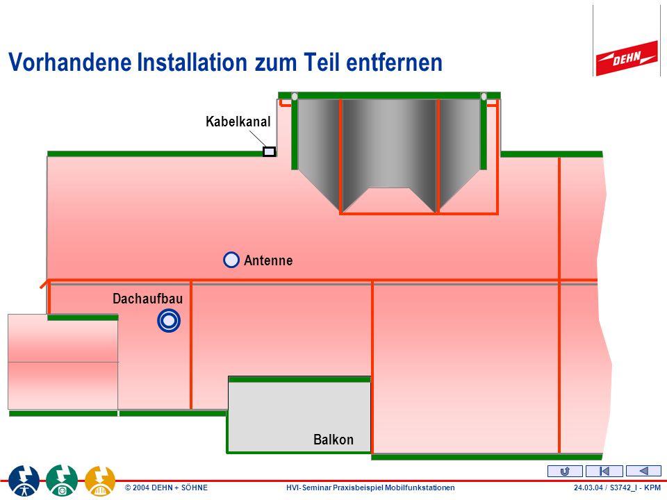 © 2004 DEHN + SÖHNEHVI-Seminar Praxisbeispiel Mobilfunkstationen Vorhandene Installation zum Teil entfernen Balkon Antenne Dachaufbau Kabelkanal 24.03.04 / S3742_l - KPM
