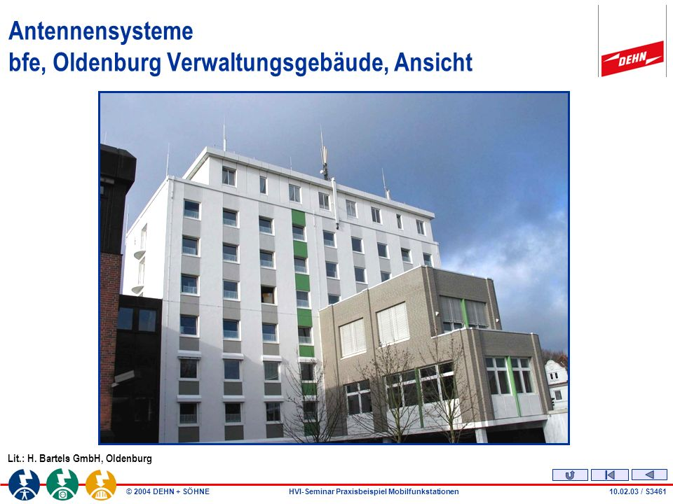 © 2004 DEHN + SÖHNEHVI-Seminar Praxisbeispiel Mobilfunkstationen10.02.03 / S3461 Lit.: H.