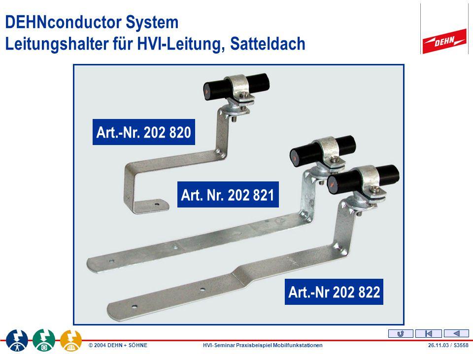 © 2004 DEHN + SÖHNEHVI-Seminar Praxisbeispiel Mobilfunkstationen DEHNconductor System Leitungshalter für HVI-Leitung, Satteldach Art.-Nr 202 822 Art.