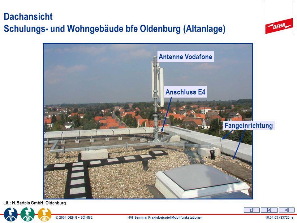 © 2004 DEHN + SÖHNEHVI-Seminar Praxisbeispiel Mobilfunkstationen16.04.03 /S3723_s Dachansicht Schulungs- und Wohngebäude bfe Oldenburg (Altanlage) Lit.: H.Bartels GmbH, Oldenburg Antenne Vodafone Anschluss E4 Fangeinrichtung