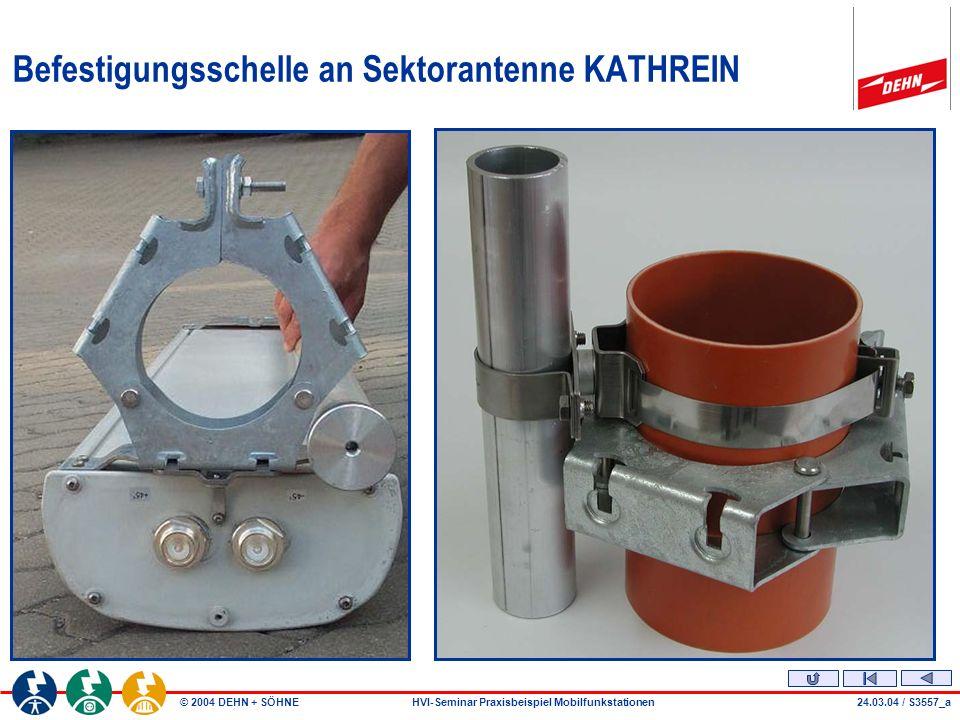 © 2004 DEHN + SÖHNEHVI-Seminar Praxisbeispiel Mobilfunkstationen Befestigungsschelle an Sektorantenne KATHREIN 24.03.04 / S3557_a